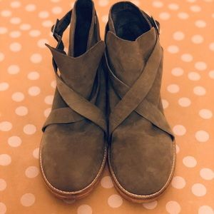 Free People Leather Suede Olive Green Booties